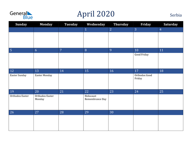 Image of April 2020 Stylish Dark Blue Calendar in PDF, Word and Excel Calendar