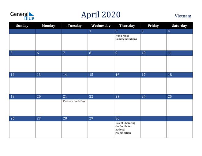 April 2020 Vietnam Calendar
