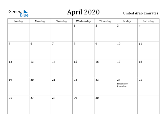 Image of April 2020 United Arab Emirates Calendar with Holidays Calendar