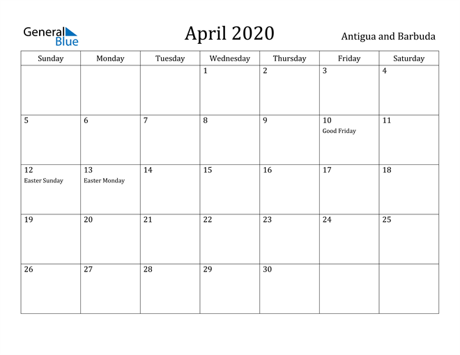 Image of April 2020 Antigua and Barbuda Calendar with Holidays Calendar