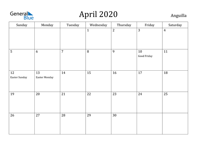 Image of April 2020 Anguilla Calendar with Holidays Calendar