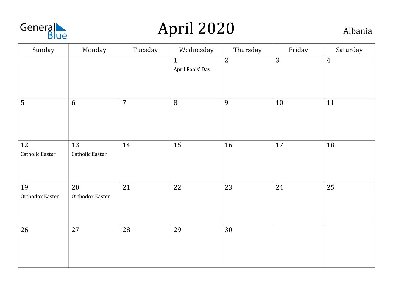 Image of April 2020 Albania Calendar with Holidays Calendar