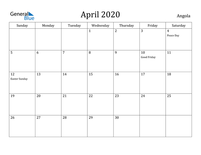 Image of April 2020 Angola Calendar with Holidays Calendar