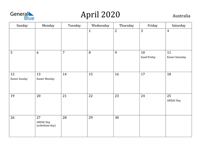 Image of April 2020 Australia Calendar with Holidays Calendar