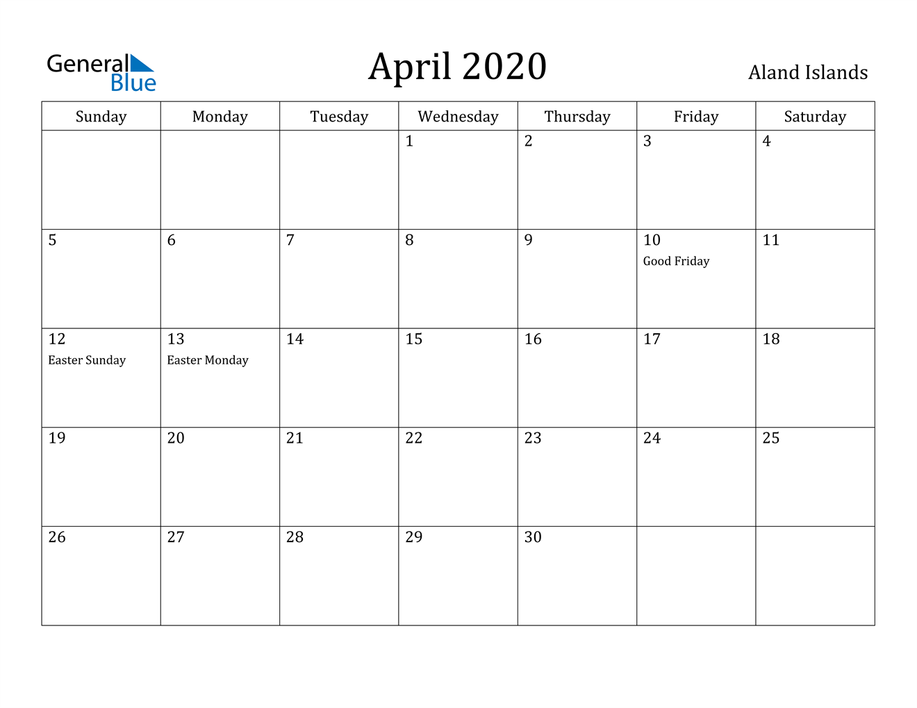 Image of April 2020 Aland Islands Calendar with Holidays Calendar