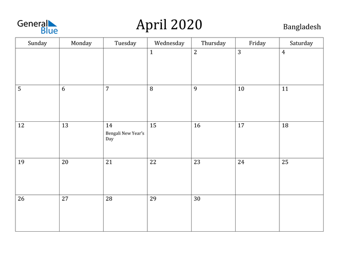 Image of April 2020 Bangladesh Calendar with Holidays Calendar