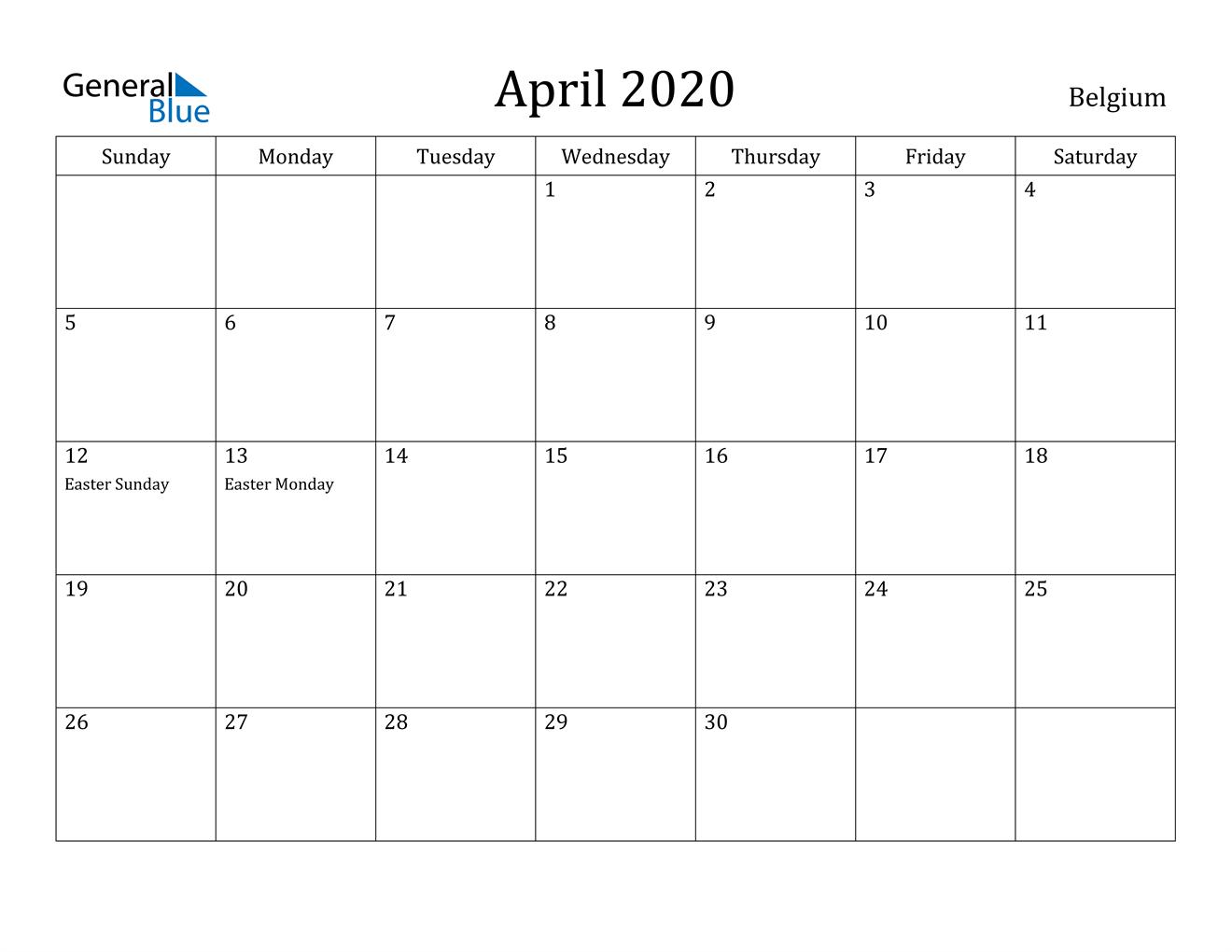 Image of April 2020 Belgium Calendar with Holidays Calendar