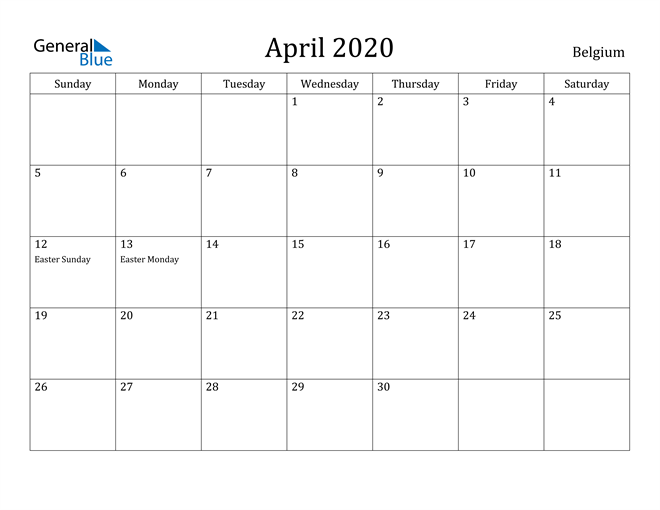 Image of April 2020 Belgium Calendar with Holidays Calendar