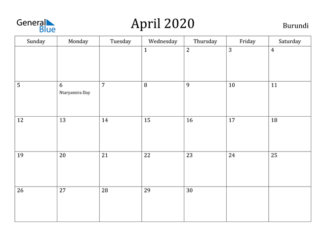 Image of April 2020 Burundi Calendar with Holidays Calendar
