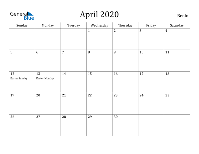 Image of April 2020 Benin Calendar with Holidays Calendar