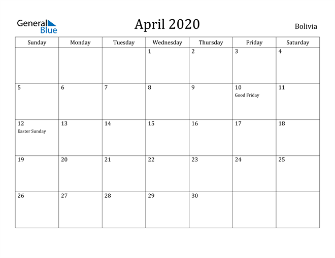 Image of April 2020 Bolivia Calendar with Holidays Calendar