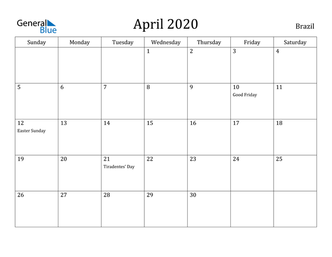 Image of April 2020 Brazil Calendar with Holidays Calendar