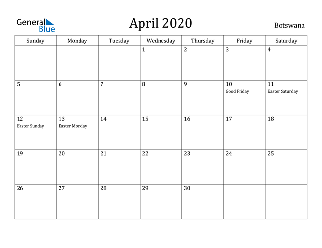 Image of April 2020 Botswana Calendar with Holidays Calendar