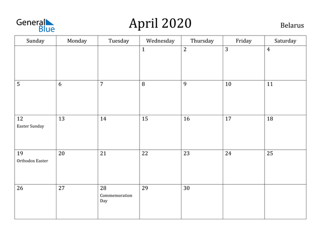 Image of April 2020 Belarus Calendar with Holidays Calendar