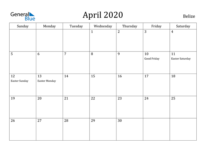 Image of April 2020 Belize Calendar with Holidays Calendar
