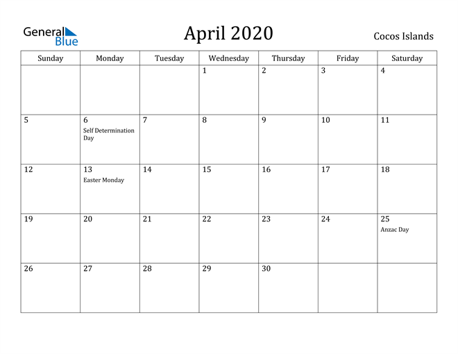 Image of April 2020 Cocos Islands Calendar with Holidays Calendar