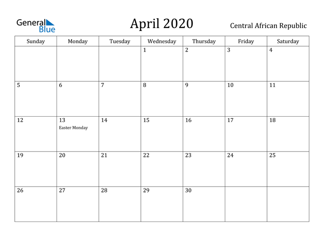 Image of April 2020 Central African Republic Calendar with Holidays Calendar