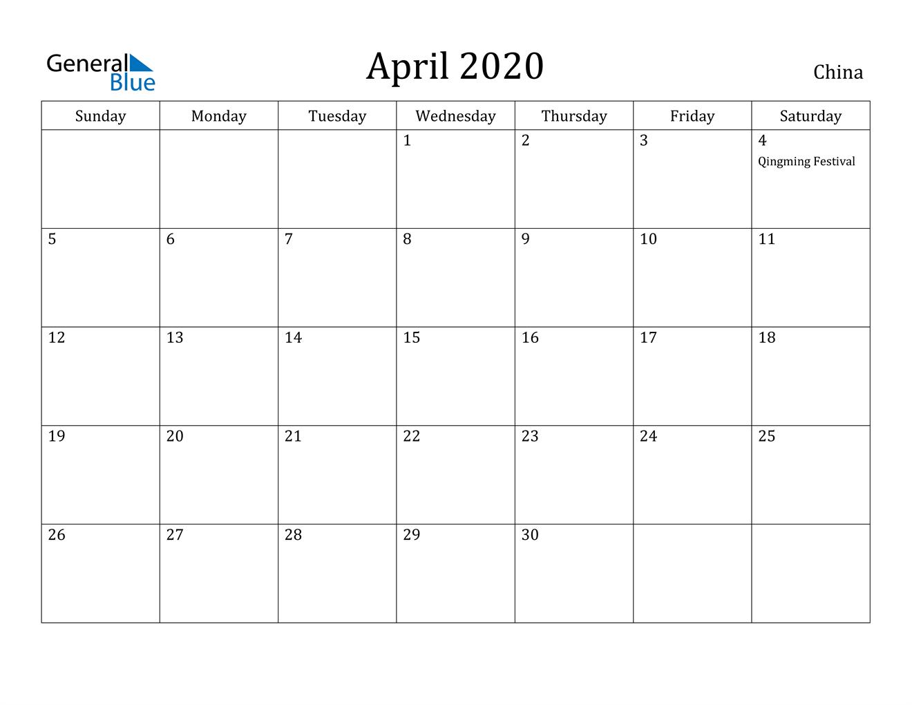Image of April 2020 China Calendar with Holidays Calendar