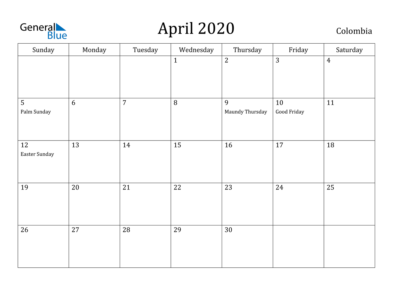 Image of April 2020 Colombia Calendar with Holidays Calendar
