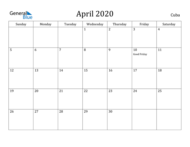 Image of April 2020 Cuba Calendar with Holidays Calendar