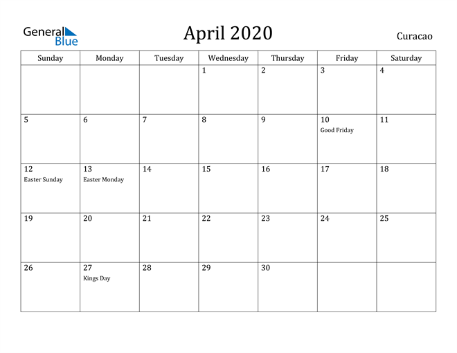 Image of April 2020 Curacao Calendar with Holidays Calendar