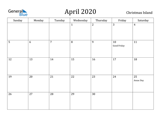 Image of April 2020 Christmas Island Calendar with Holidays Calendar