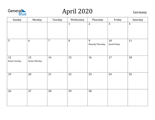 Image of April 2020 Germany Calendar with Holidays Calendar