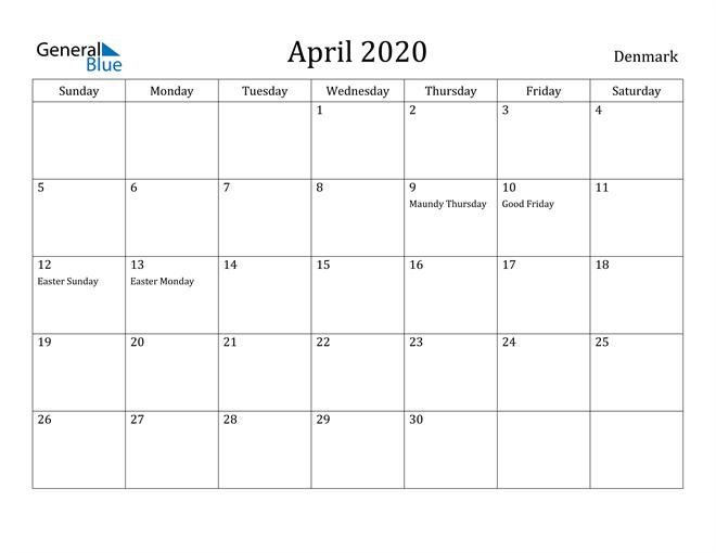 Image of April 2020 Denmark Calendar with Holidays Calendar