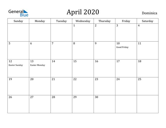 Image of April 2020 Dominica Calendar with Holidays Calendar