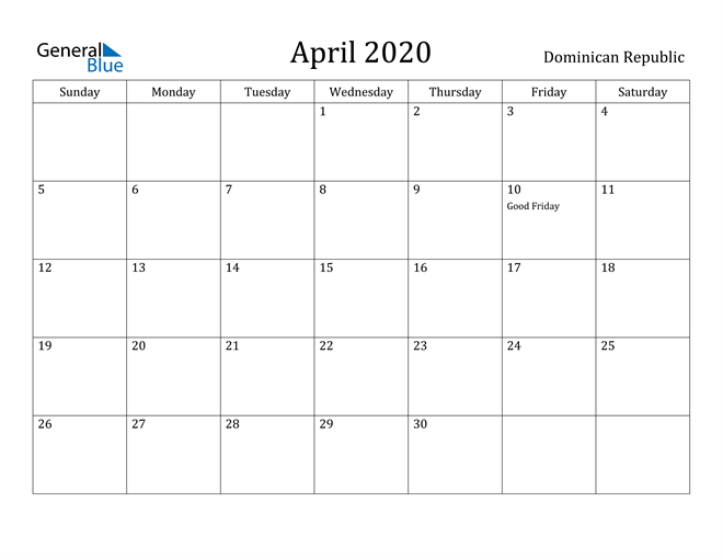 Image of April 2020 Dominican Republic Calendar with Holidays Calendar