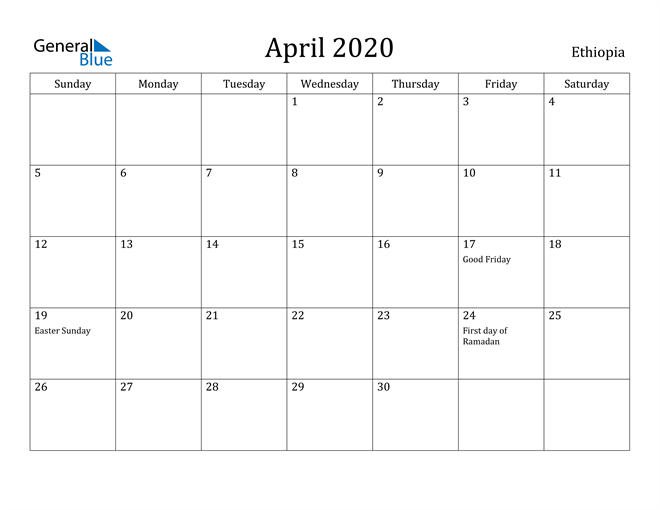 Image of April 2020 Ethiopia Calendar with Holidays Calendar