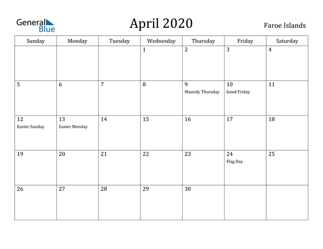 Image of April 2020 Faroe Islands Calendar with Holidays Calendar