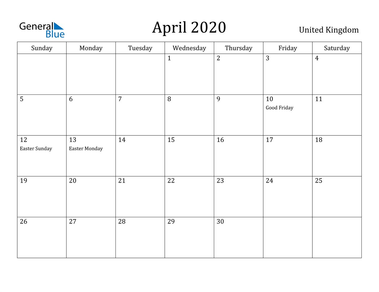 Image of April 2020 United Kingdom Calendar with Holidays Calendar