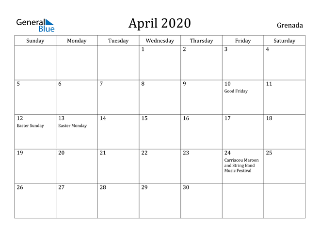 Image of April 2020 Grenada Calendar with Holidays Calendar