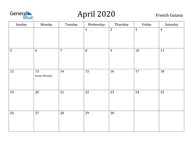 Image of April 2020 French Guiana Calendar with Holidays Calendar