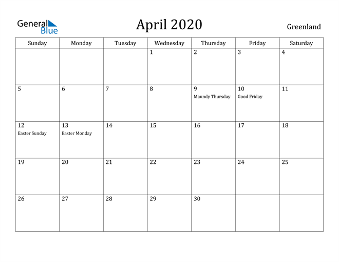 Image of April 2020 Greenland Calendar with Holidays Calendar
