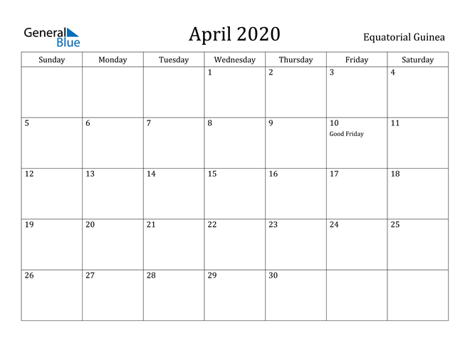 Image of April 2020 Equatorial Guinea Calendar with Holidays Calendar