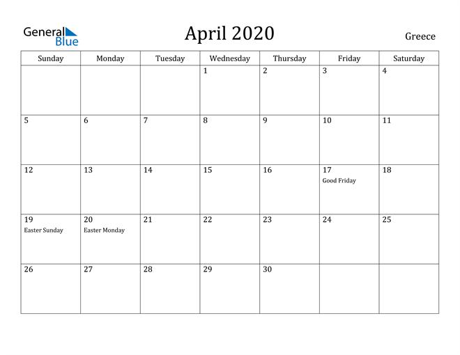 Image of April 2020 Greece Calendar with Holidays Calendar