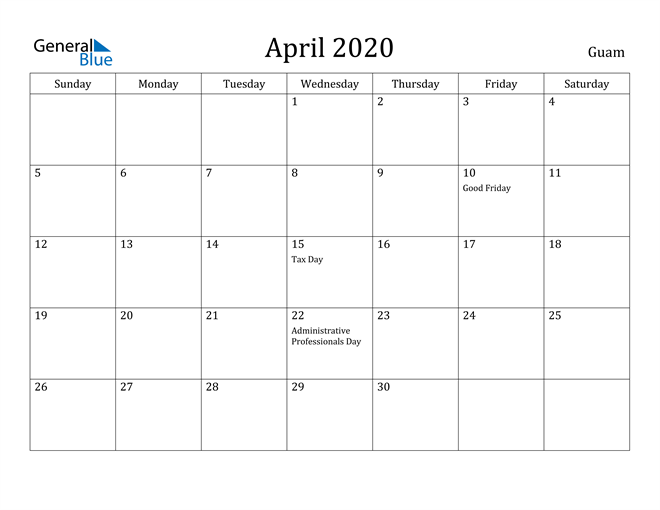 Image of April 2020 Guam Calendar with Holidays Calendar