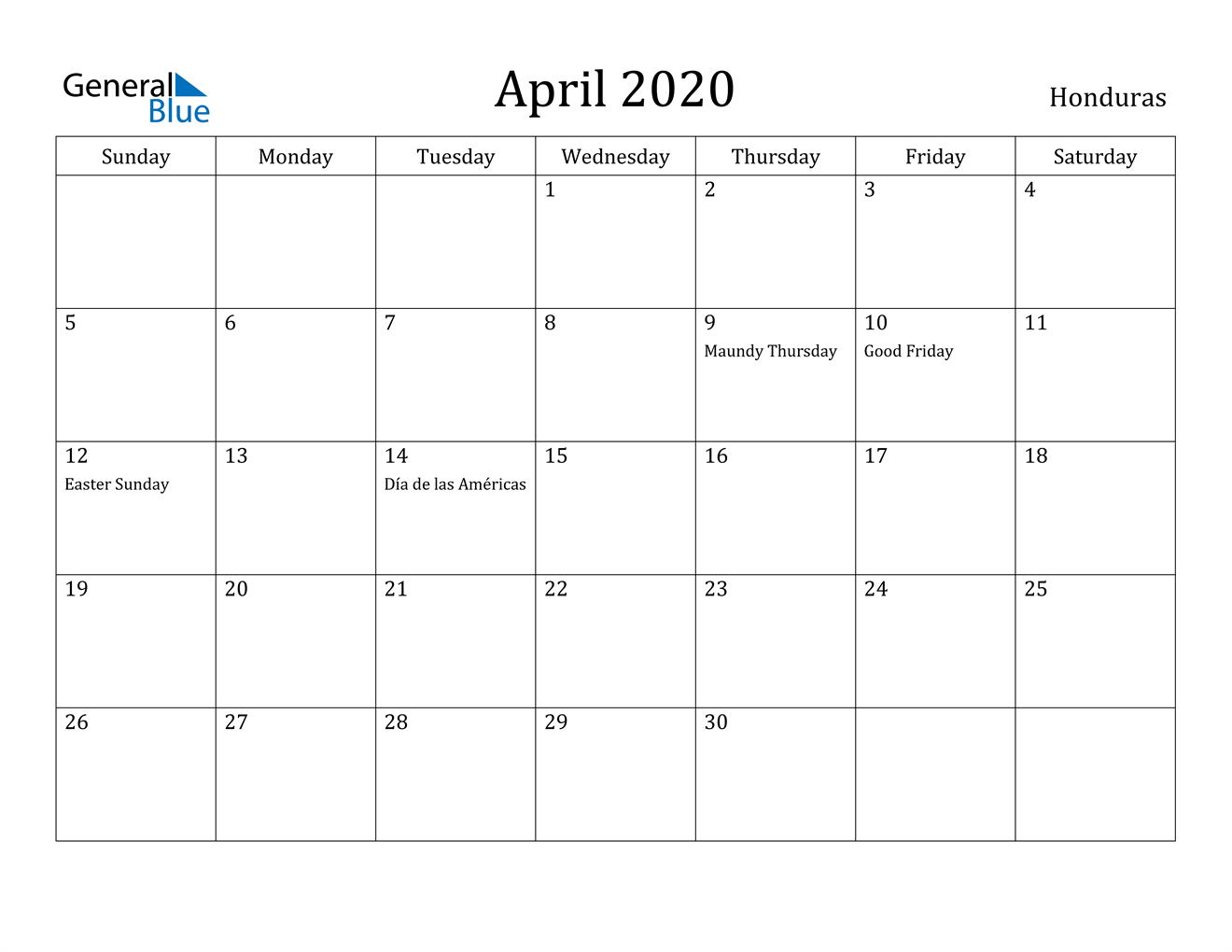 Image of April 2020 Honduras Calendar with Holidays Calendar