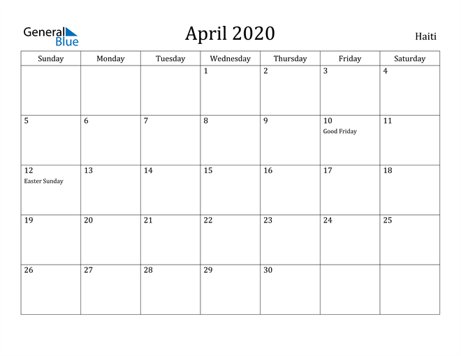 Image of April 2020 Haiti Calendar with Holidays Calendar