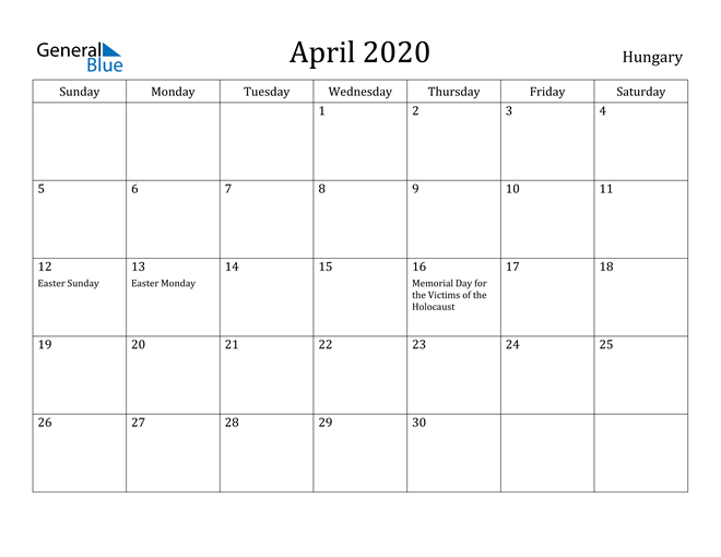 Image of April 2020 Hungary Calendar with Holidays Calendar