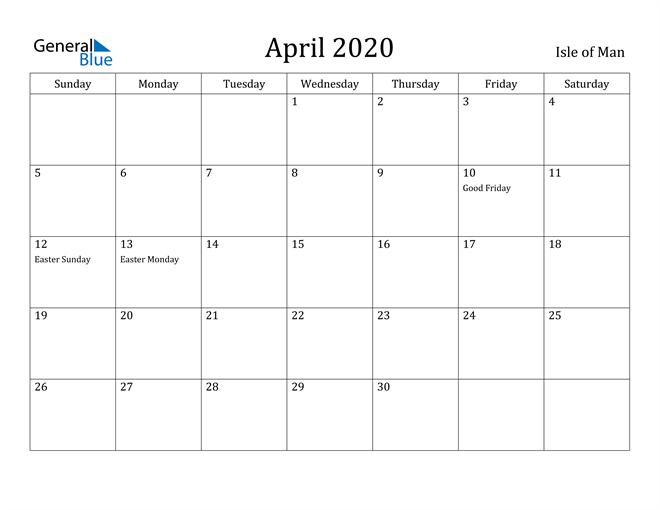 Image of April 2020 Isle of Man Calendar with Holidays Calendar