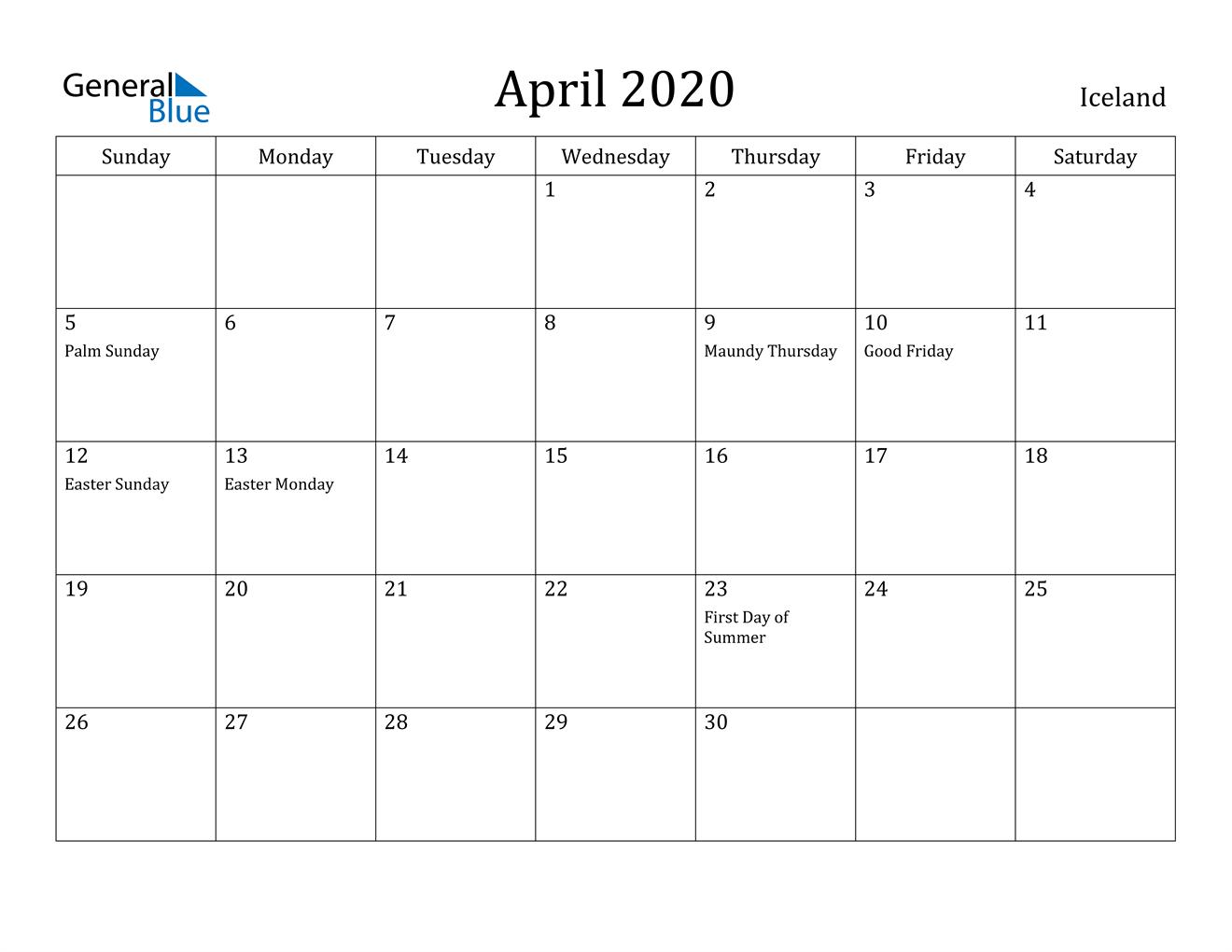 Image of April 2020 Iceland Calendar with Holidays Calendar
