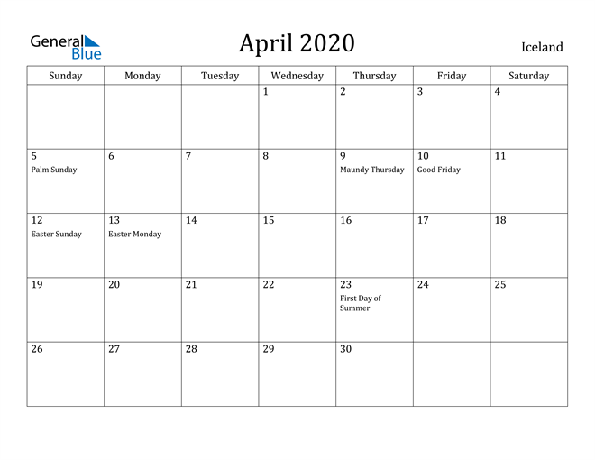 Image of April 2020 Iceland Calendar with Holidays Calendar