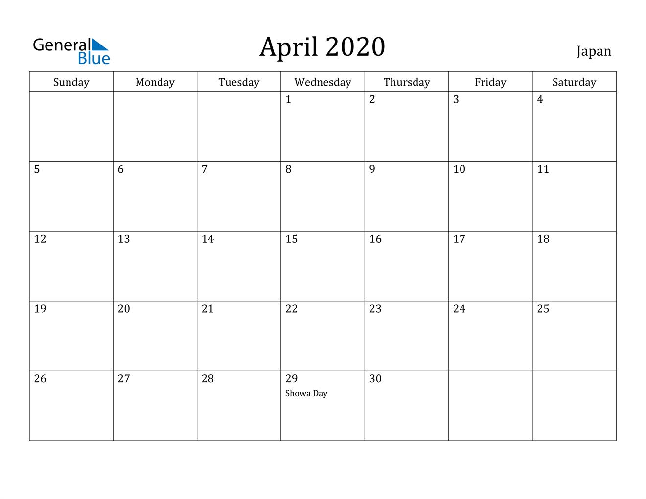 Image of April 2020 Japan Calendar with Holidays Calendar