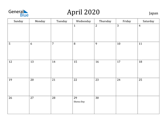Image of April 2020 Japan Calendar with Holidays Calendar