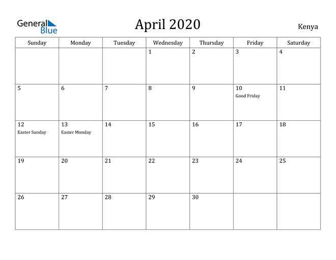 Image of April 2020 Kenya Calendar with Holidays Calendar