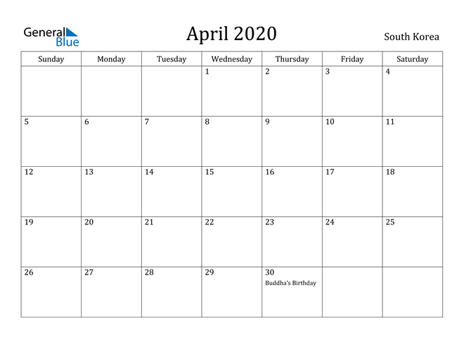 Image of April 2020 South Korea Calendar with Holidays Calendar