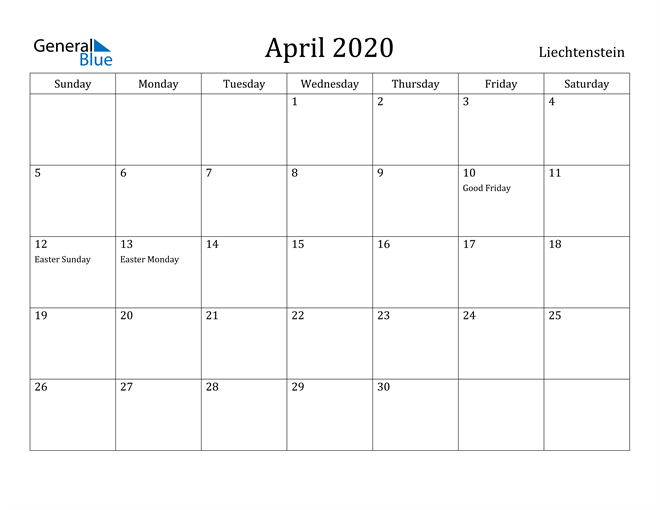 Image of April 2020 Liechtenstein Calendar with Holidays Calendar